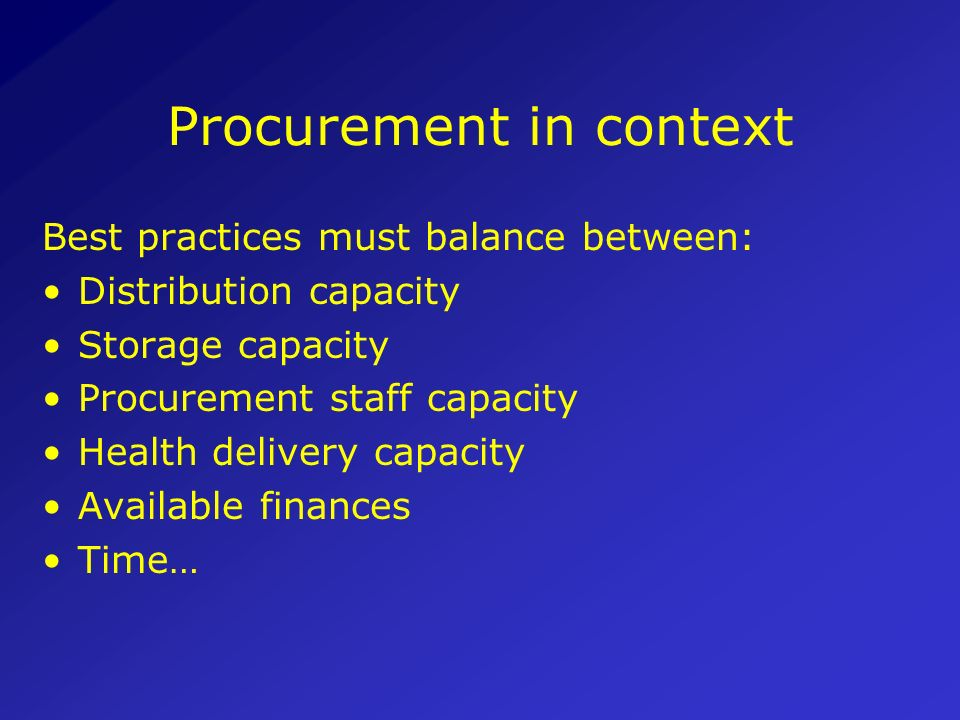 Procurement in context