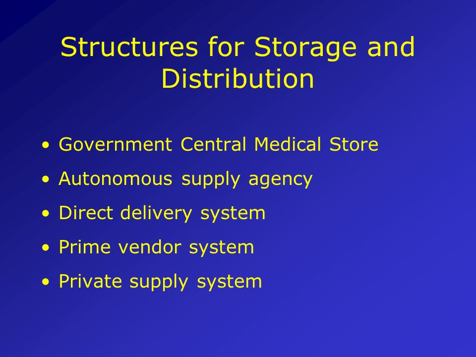 Structures for Storage and Distribution