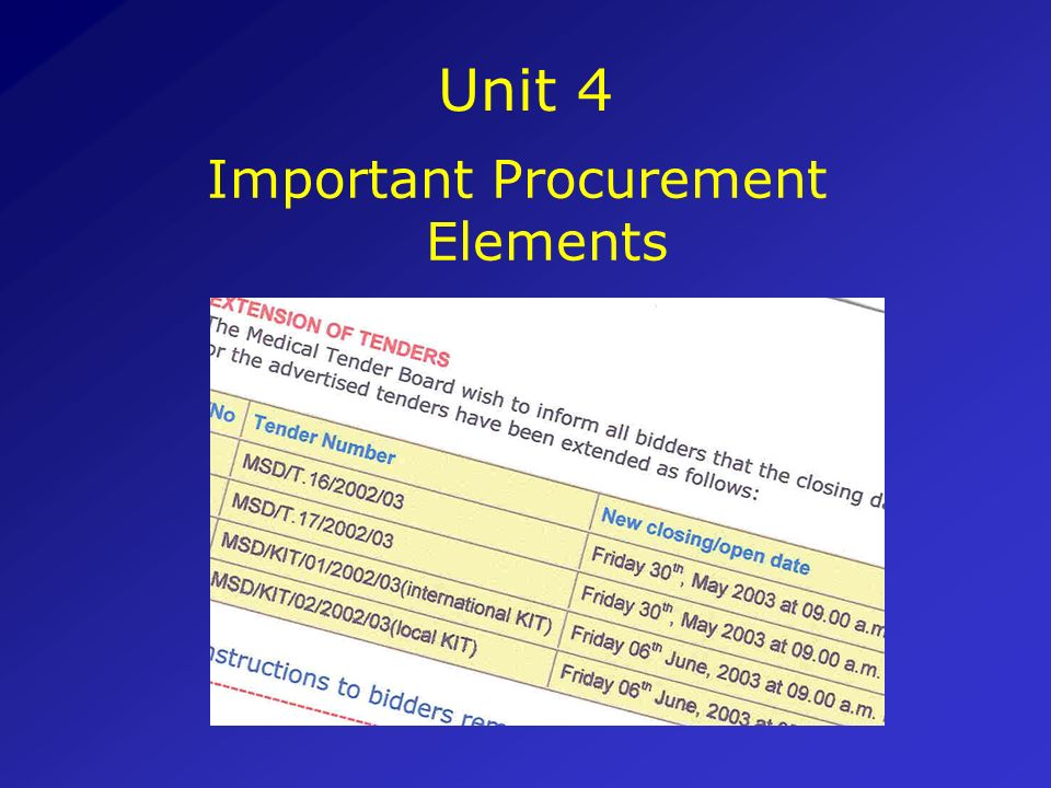 Important Procurement Elements