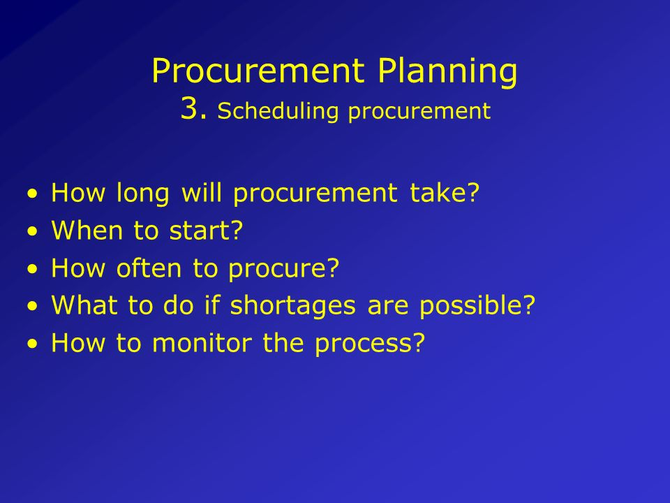 Procurement Planning 3. Scheduling procurement