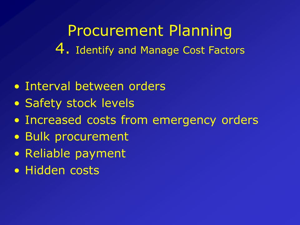 Procurement Planning 4. Identify and Manage Cost Factors