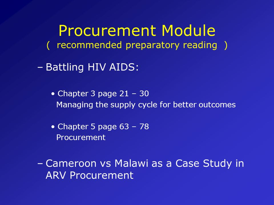 Procurement Module ( recommended preparatory reading )