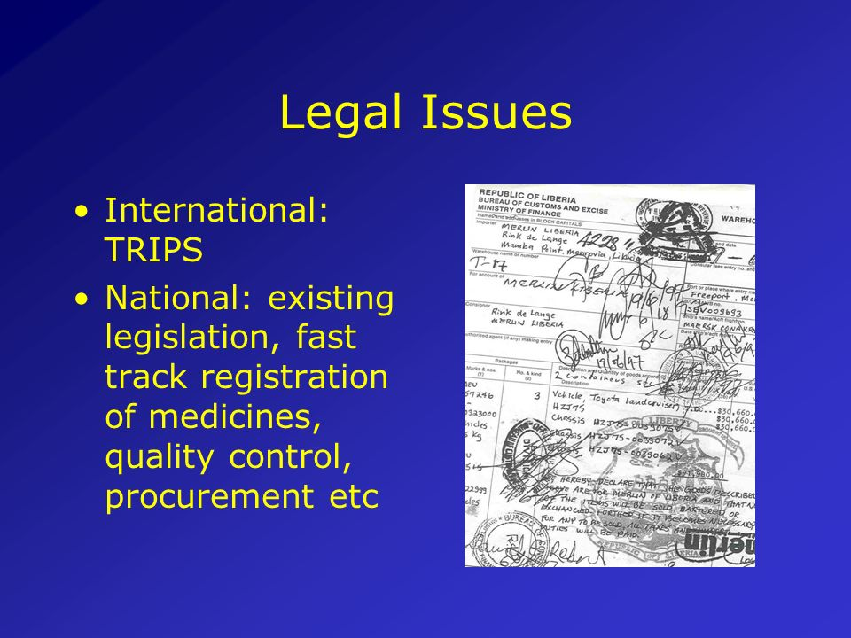 Legal Issues International: TRIPS