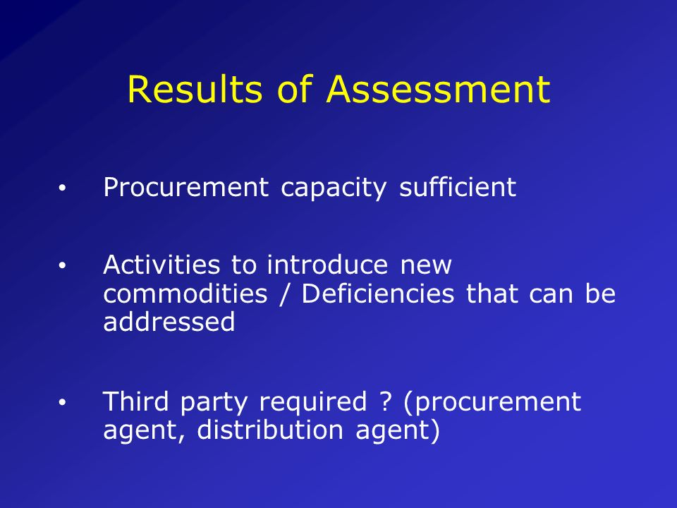 Results of Assessment Procurement capacity sufficient
