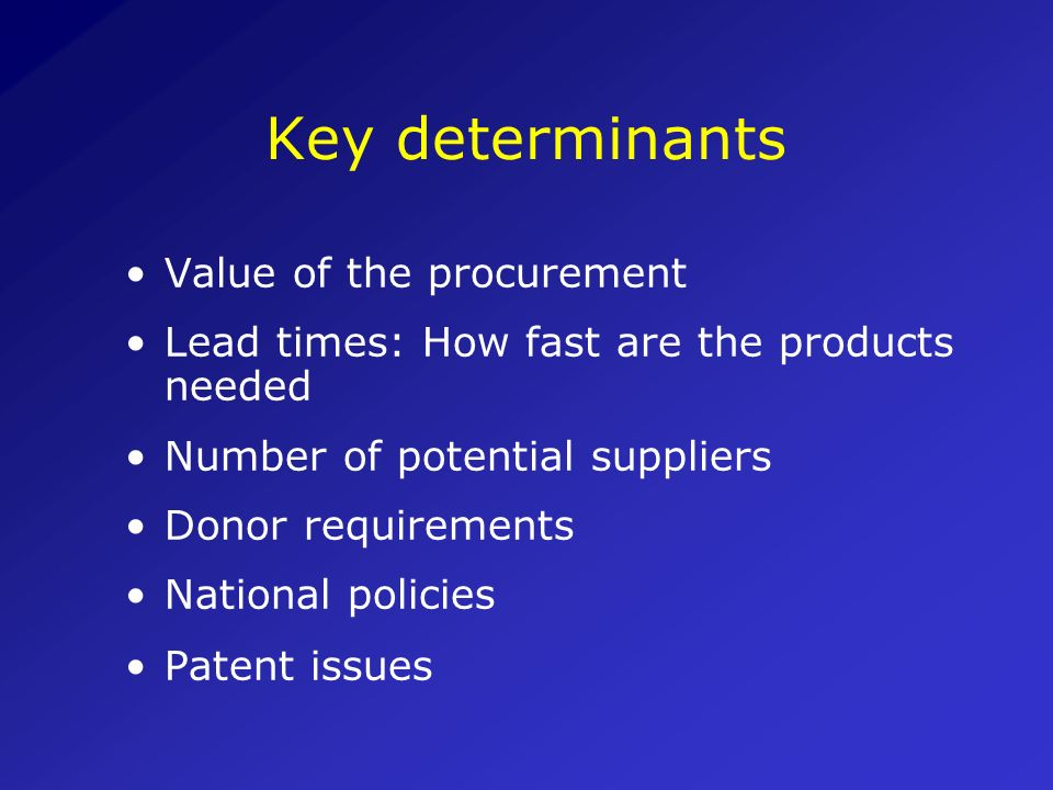 Key determinants Value of the procurement