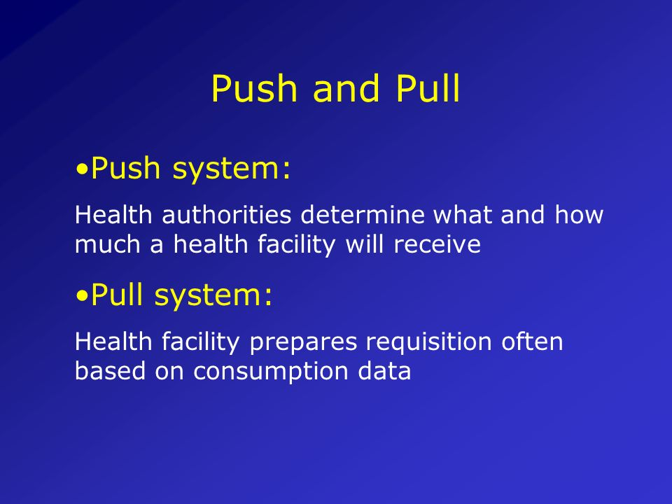 Push and Pull Push system: Pull system: