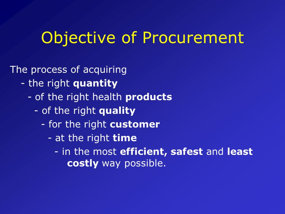 Objective of Procurement