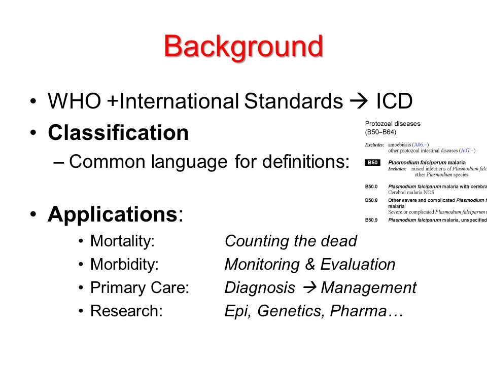 Background WHO +International Standards  ICD Classification