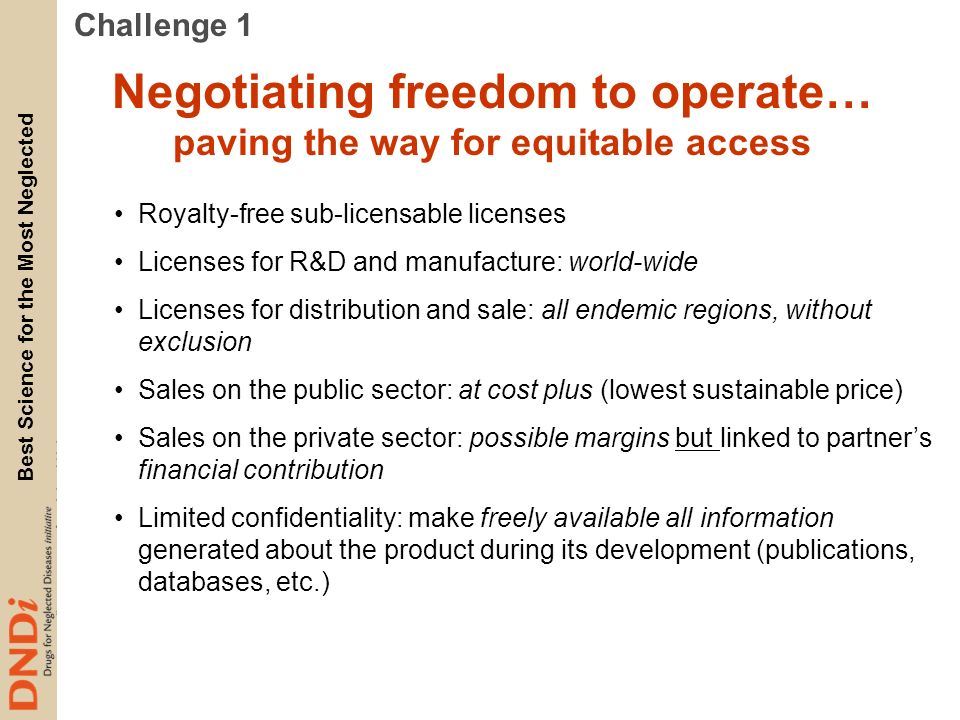 Negotiating freedom to operate… paving the way for equitable access