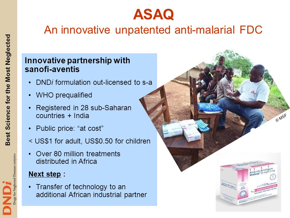 An innovative unpatented anti-malarial FDC