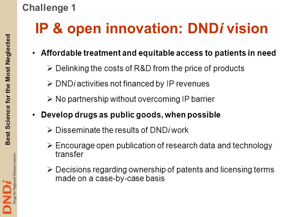 IP & open innovation: DNDi vision