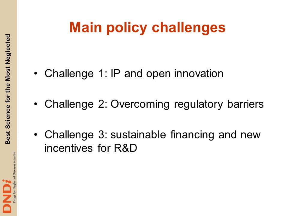 Main policy challenges