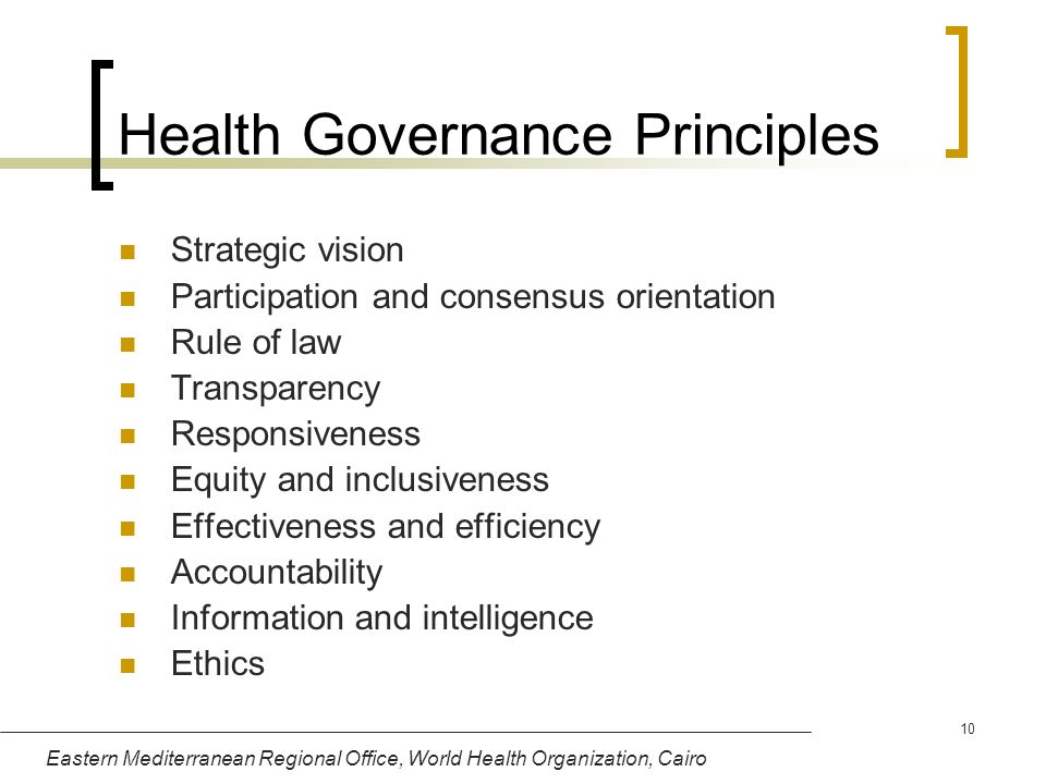 Health Governance Principles