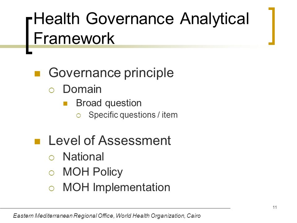 Health Governance Analytical Framework