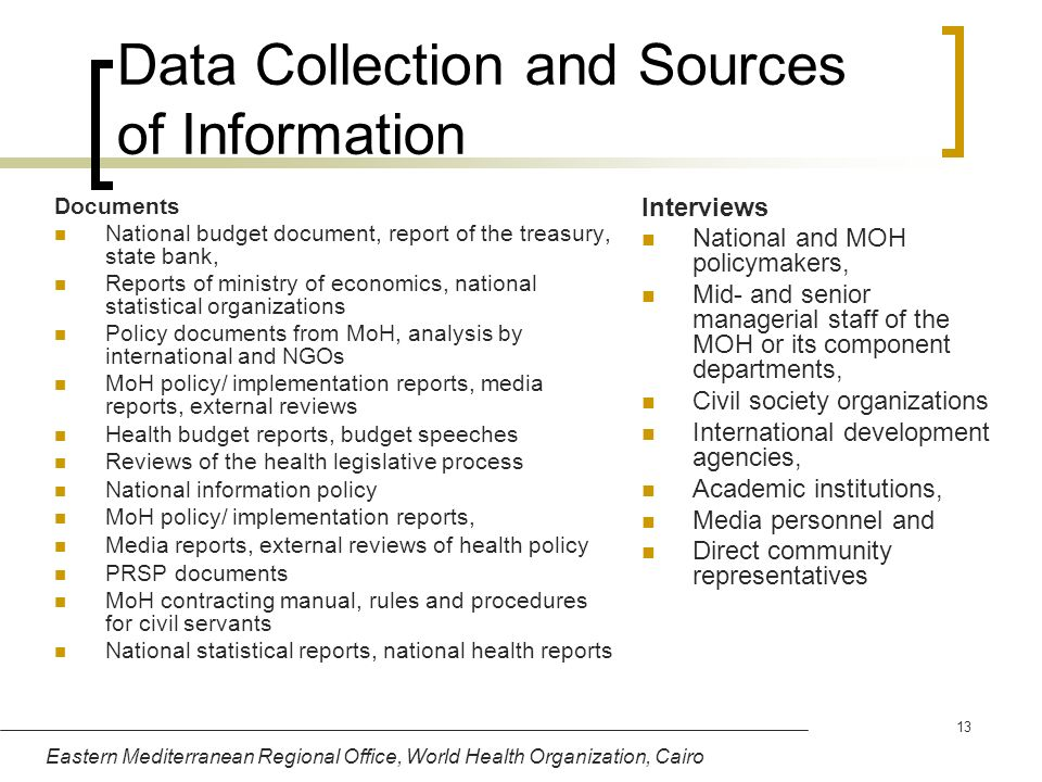 Data Collection and Sources of Information