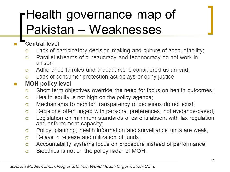 Health governance map of Pakistan – Weaknesses