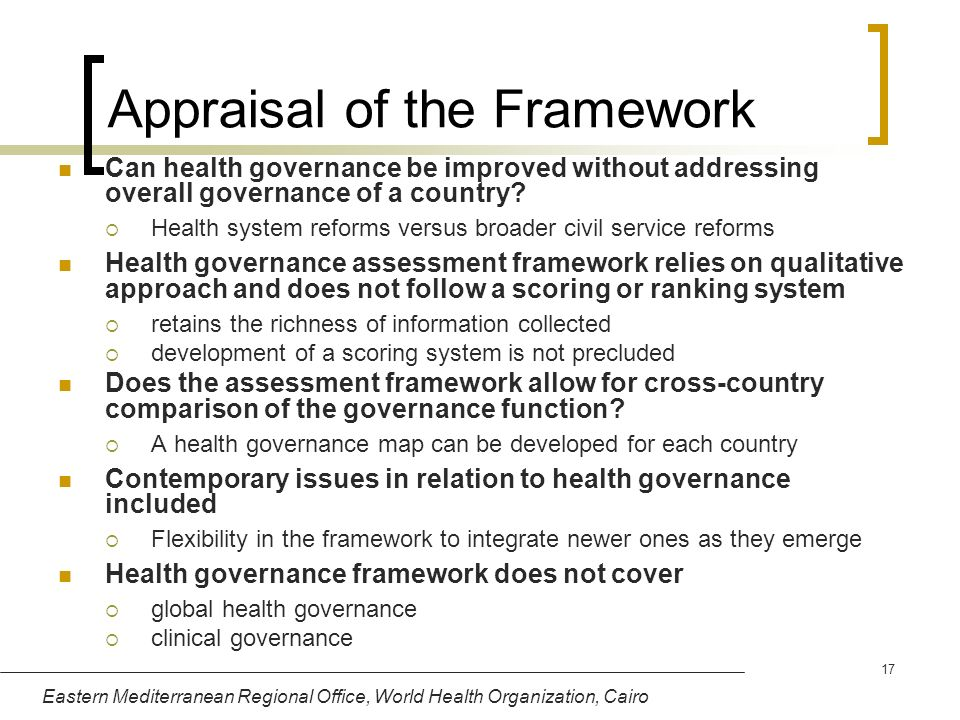 Appraisal of the Framework
