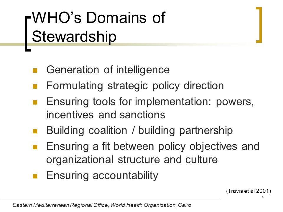 WHO's Domains of Stewardship