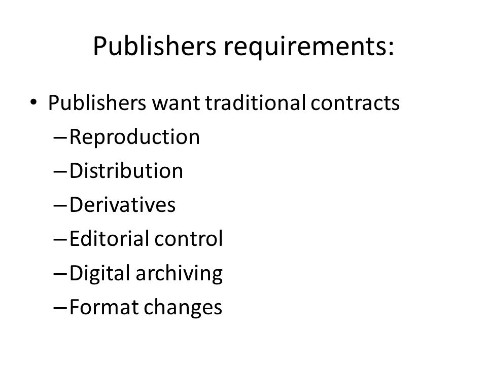 Publishers requirements: