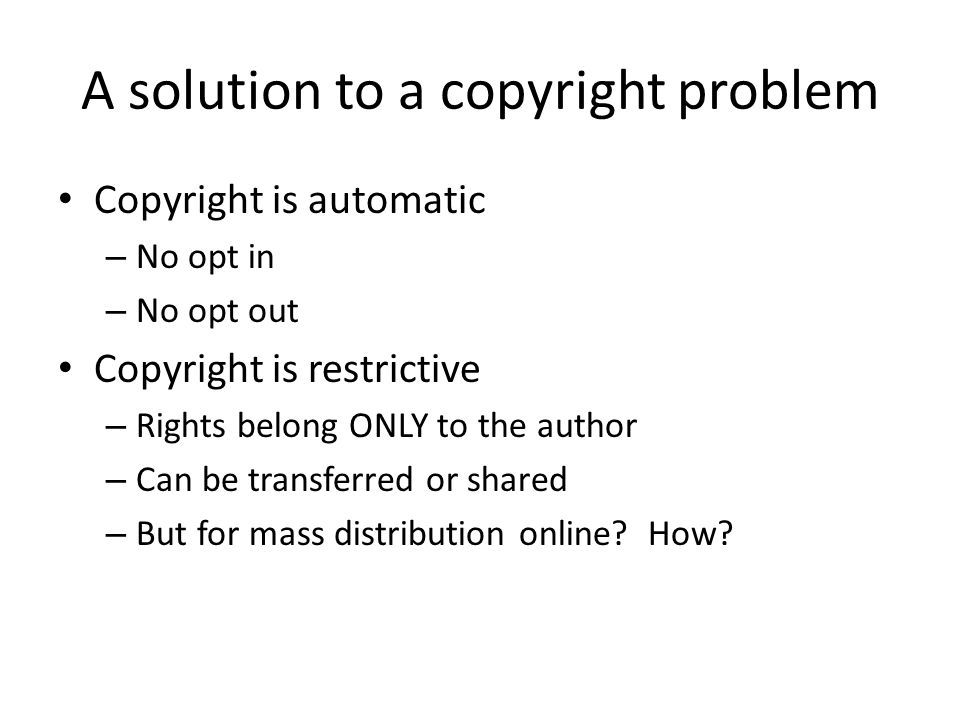 A solution to a copyright problem