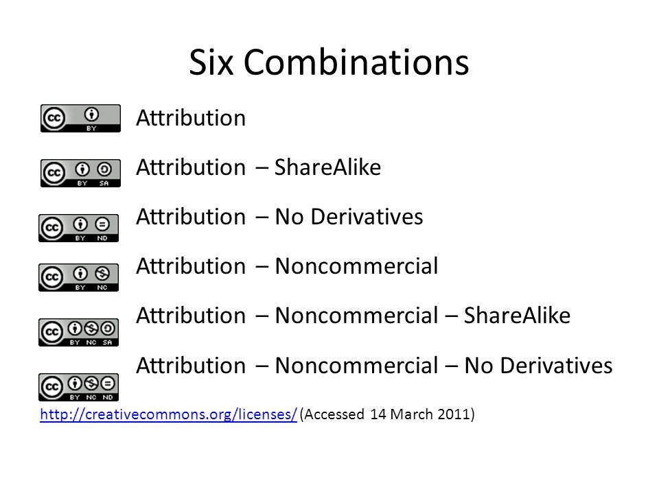 Six Combinations Attribution Attribution – ShareAlike