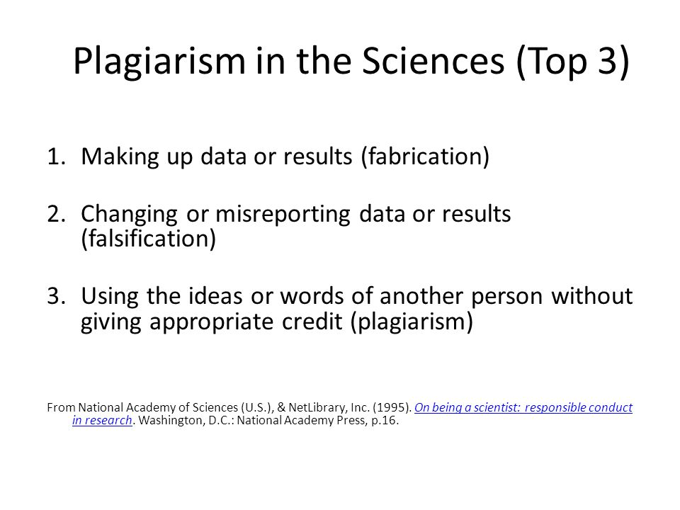 Plagiarism in the Sciences (Top 3)