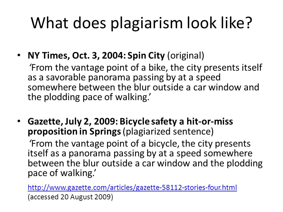 What does plagiarism look like