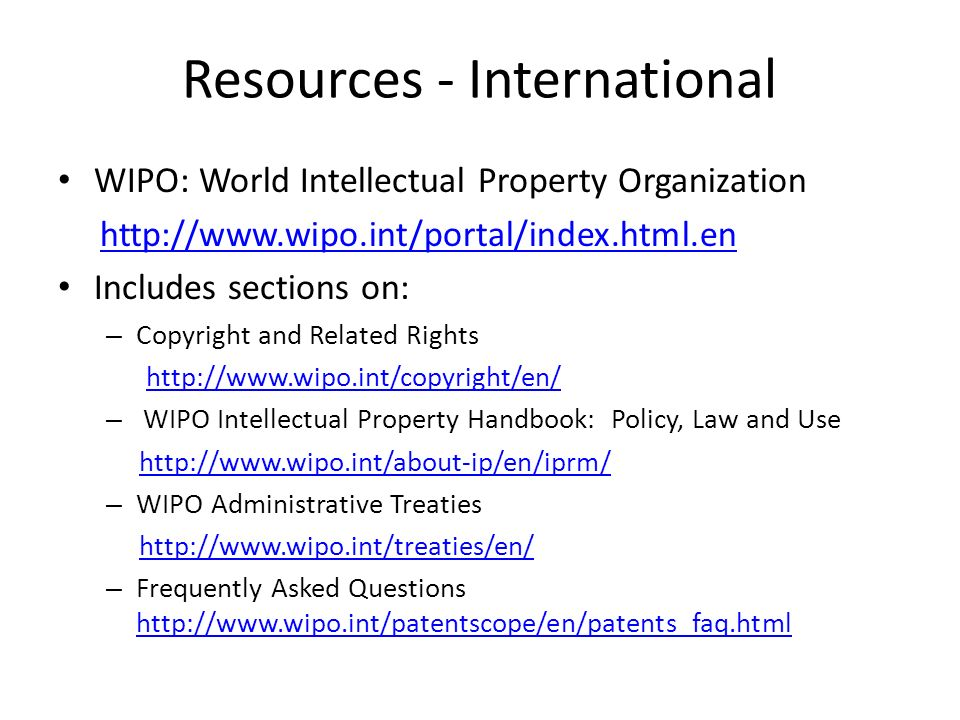Resources - International