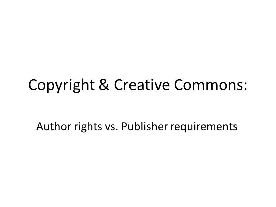Copyright & Creative Commons: