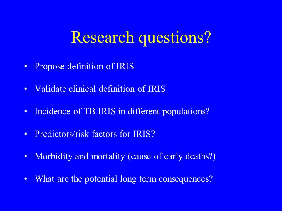 Research questions Propose definition of IRIS