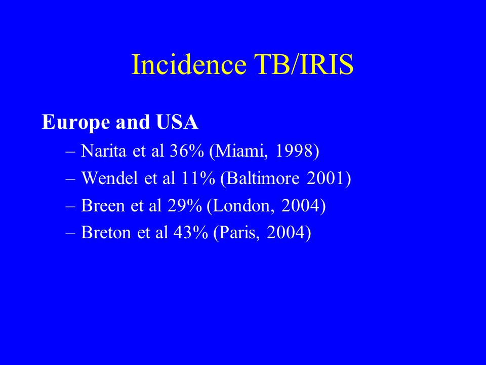 Incidence TB/IRIS Europe and USA Narita et al 36% (Miami, 1998)