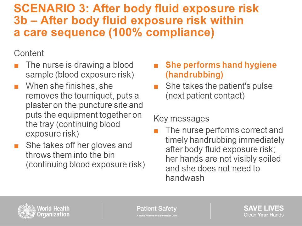 SCENARIO 3: After body fluid exposure risk 3b – After body fluid exposure risk within a care sequence (100% compliance)