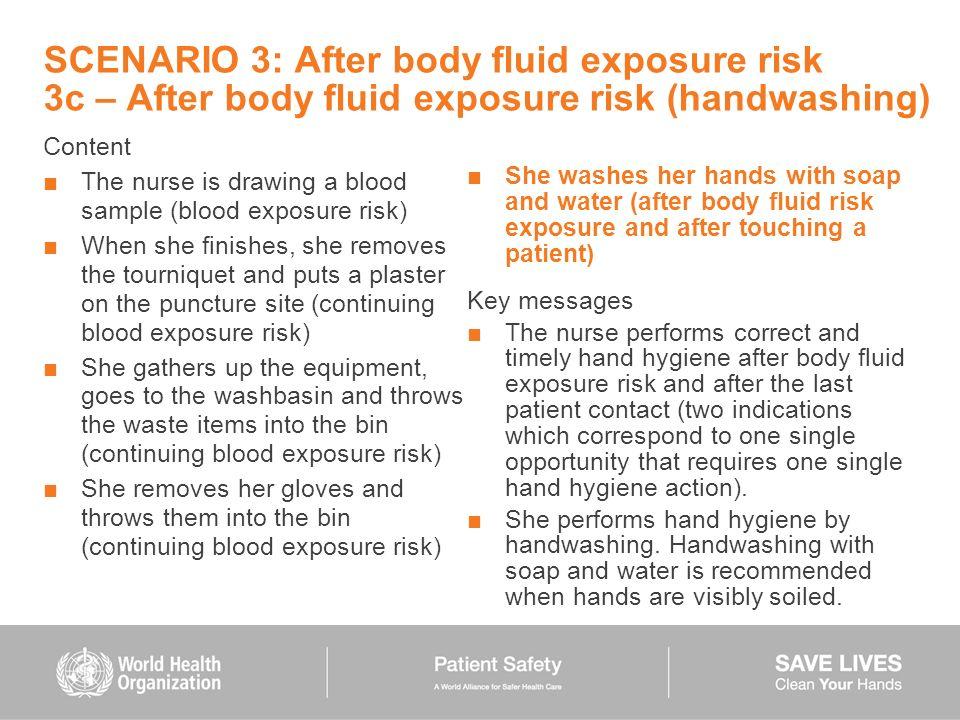 SCENARIO 3: After body fluid exposure risk 3c – After body fluid exposure risk (handwashing)