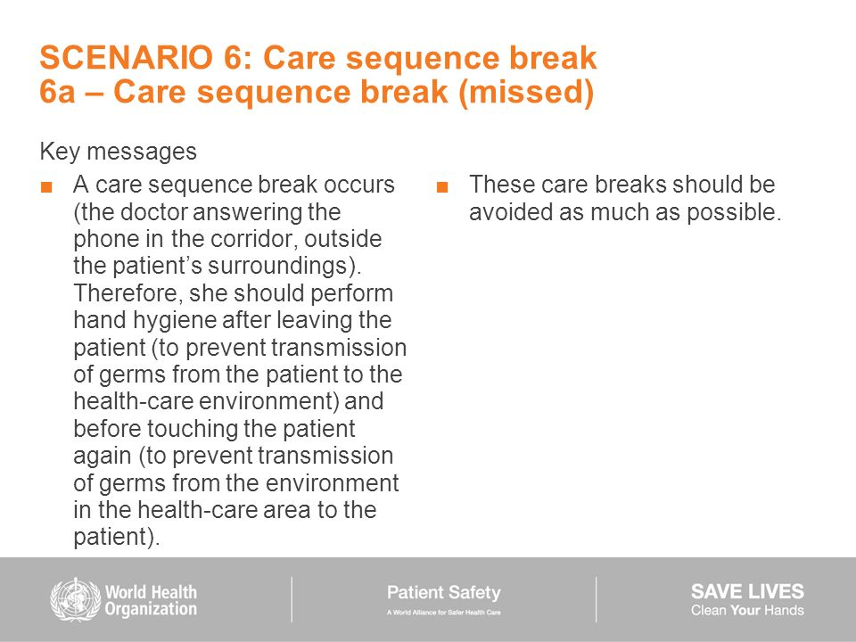 SCENARIO 6: Care sequence break 6a – Care sequence break (missed)