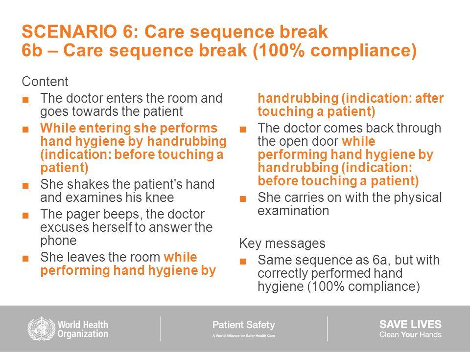 SCENARIO 6: Care sequence break 6b – Care sequence break (100% compliance)