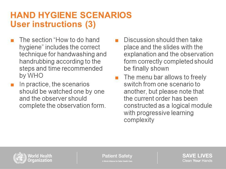 HAND HYGIENE SCENARIOS User instructions (3)