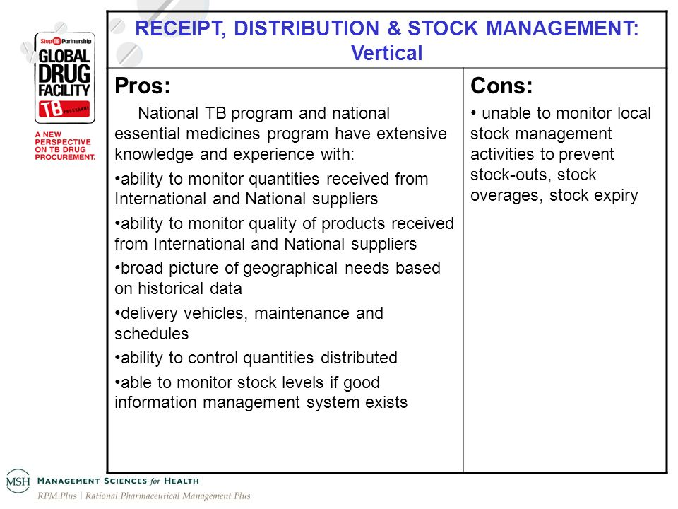 RECEIPT, DISTRIBUTION & STOCK MANAGEMENT: Vertical