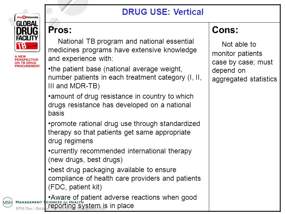 DRUG USE: Vertical Pros: National TB program and national essential medicines programs have extensive knowledge and experience with: