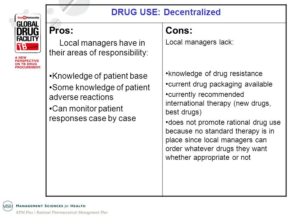 DRUG USE: Decentralized