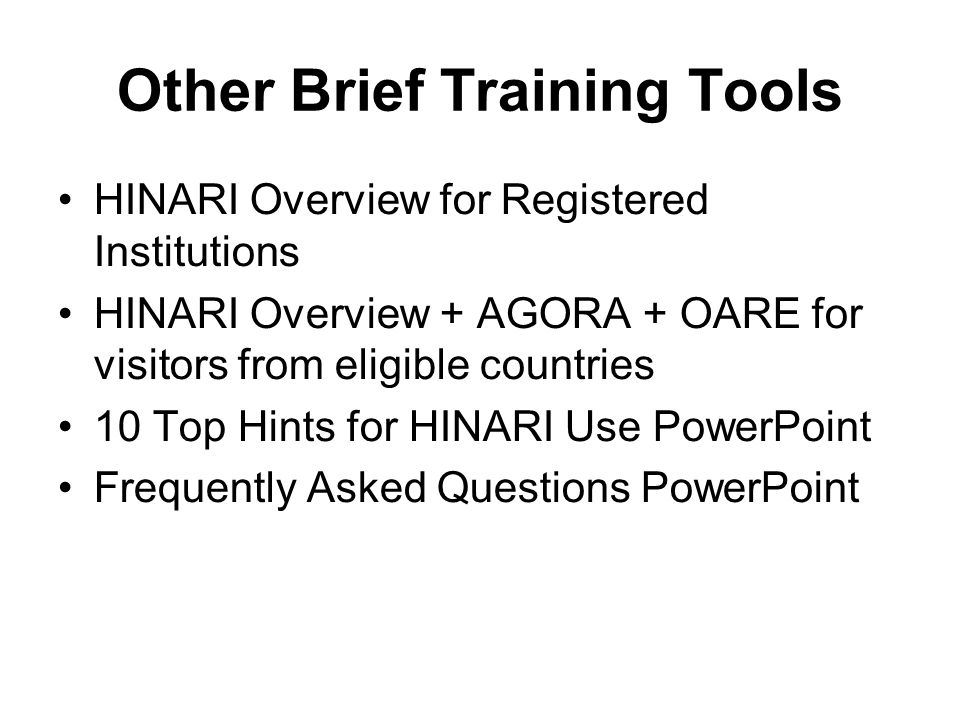 Other Brief Training Tools