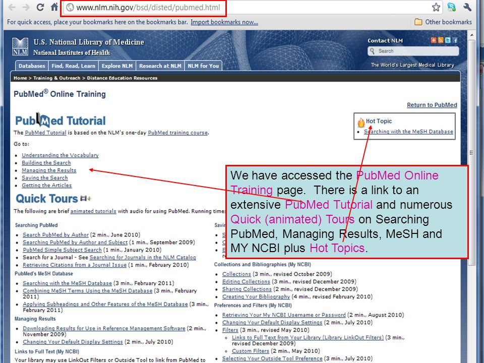 We have accessed the PubMed Online Training page