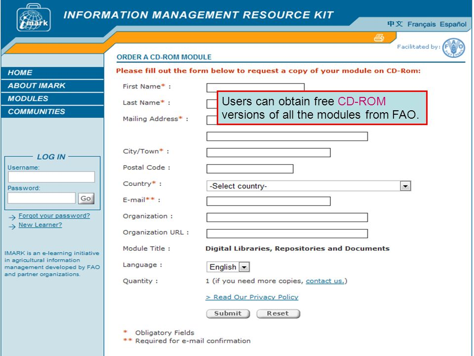 Users can obtain free CD-ROM versions of all the modules from FAO.