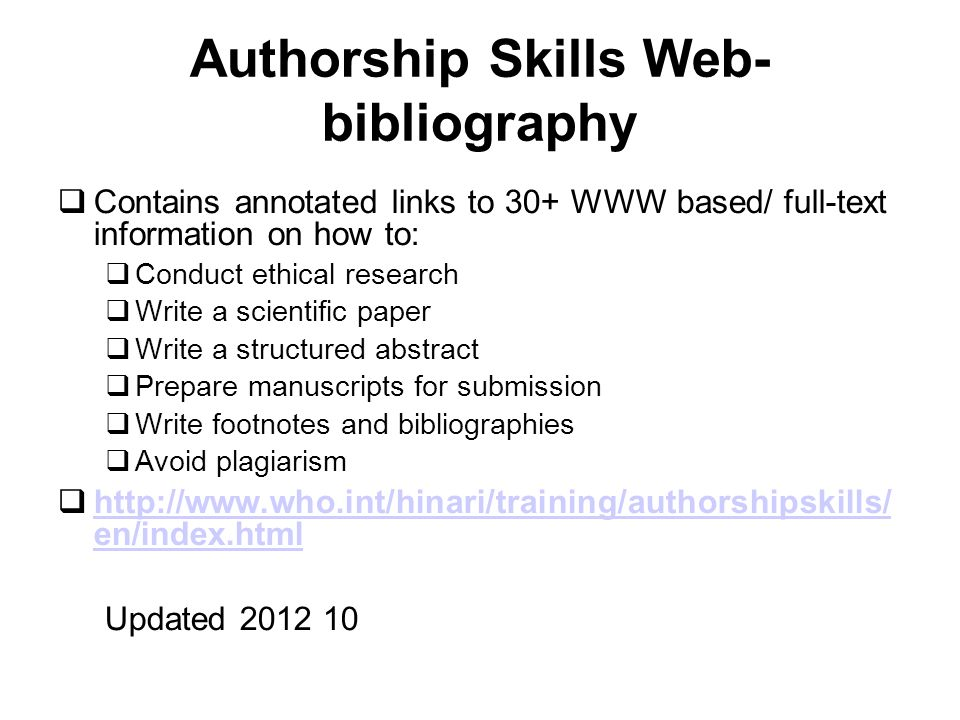 Authorship Skills Web-bibliography