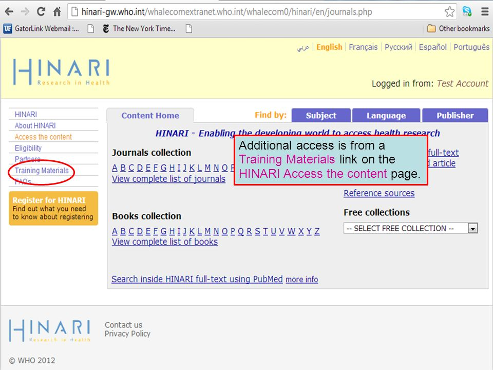 Additional access is from a Training Materials link on the HINARI Access the content page.