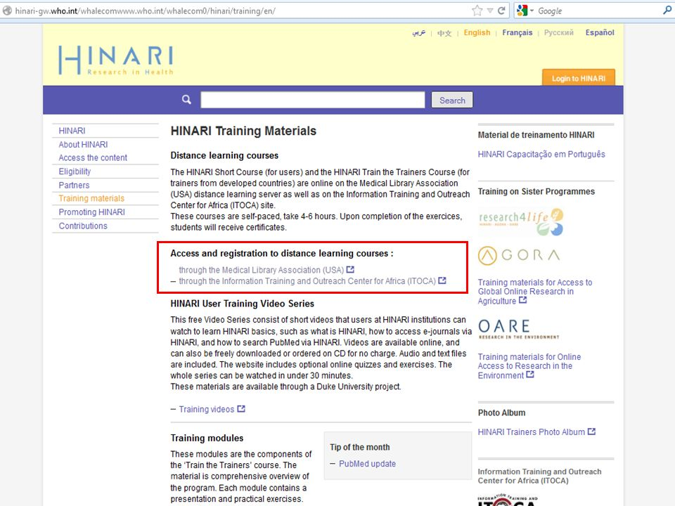 We have displayed the Training Modules section of the HINARI training page.