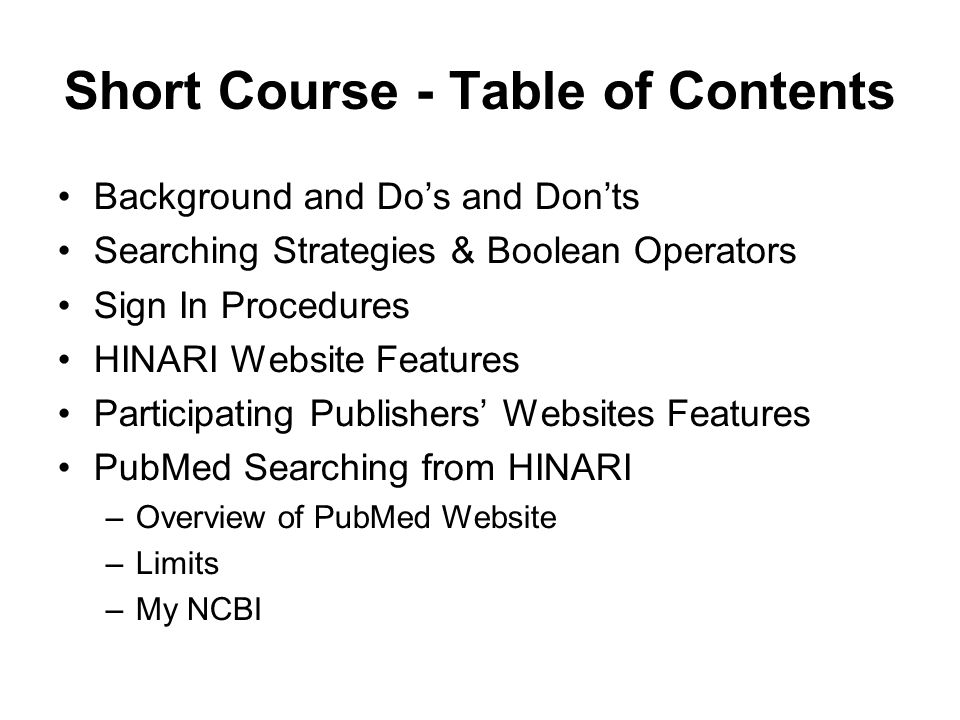 Short Course - Table of Contents