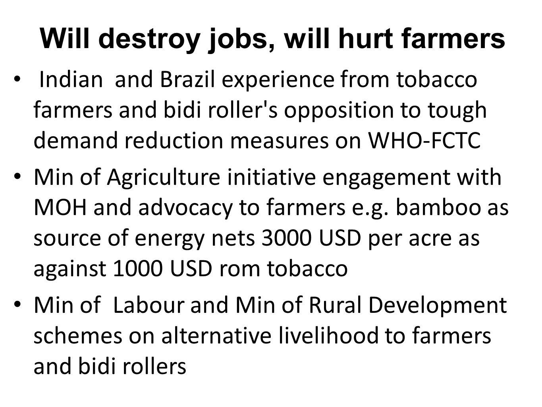 Will destroy jobs, will hurt farmers