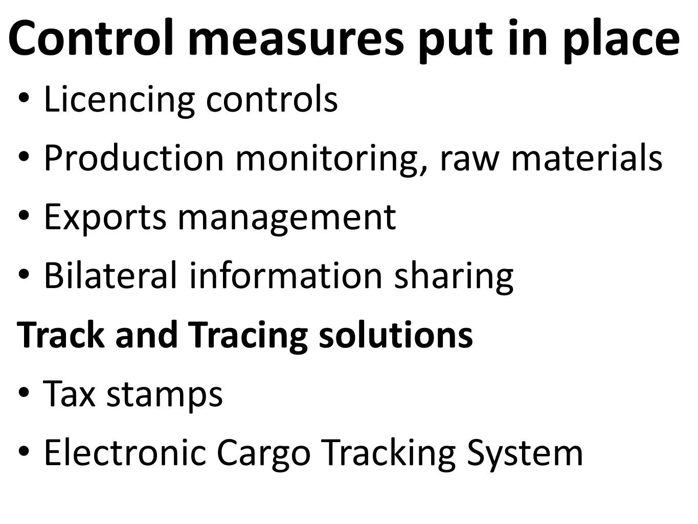 Control measures put in place