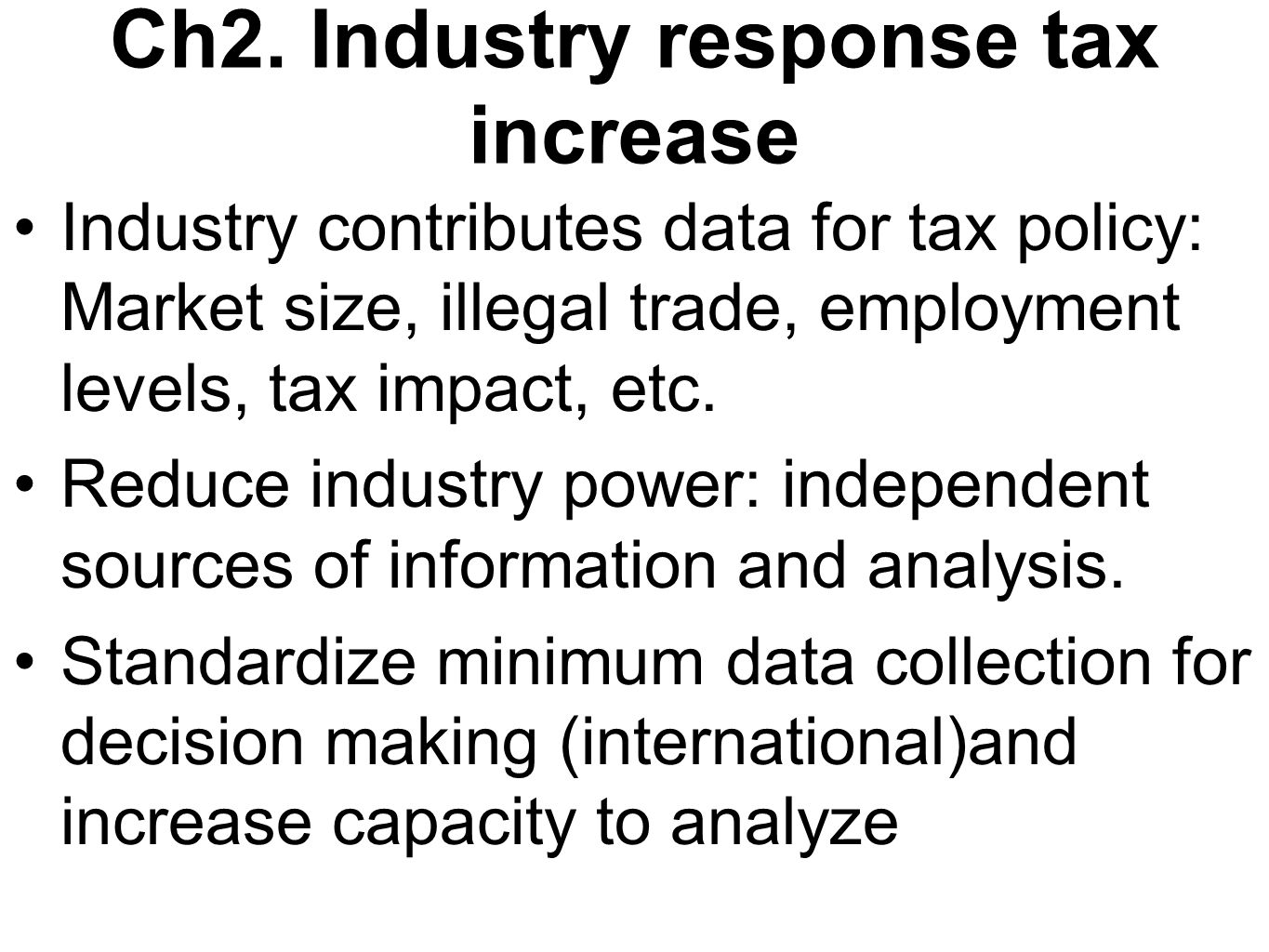Ch2. Industry response tax increase