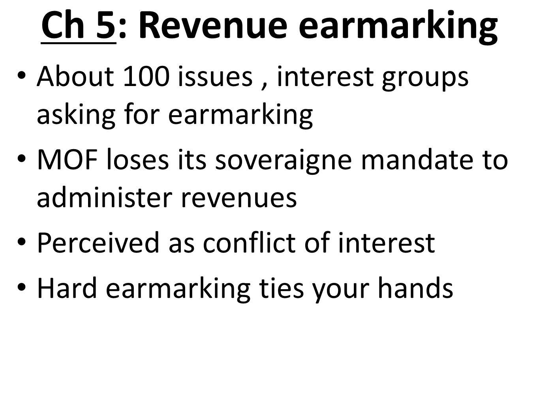 Ch 5: Revenue earmarking